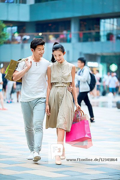 Young couples go shopping