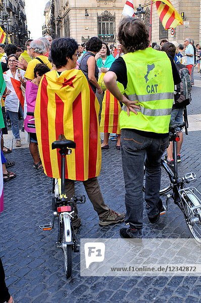 Political demonstration for the independence of Catalonia. Estelada  independentist flag. September 2017. Barcelona  Catalonia  Spain