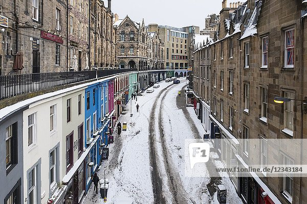 View of historic Victoria Street in Edinburgh Old Town after heavy snow  Scotland  United Kingdom.