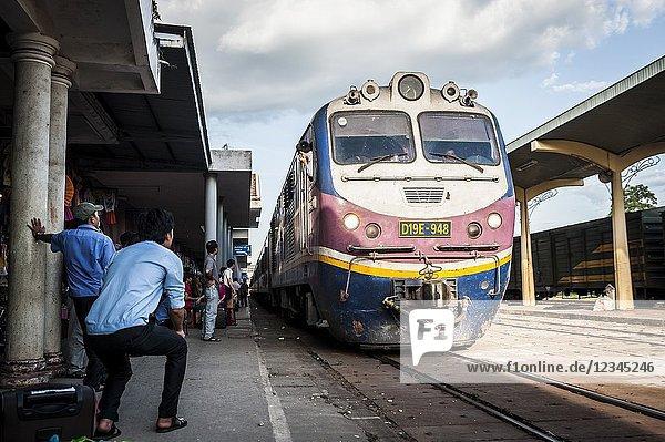 Vietnamese train arrives to Hue train station (Thua Thien-Hue province  Vietnam).