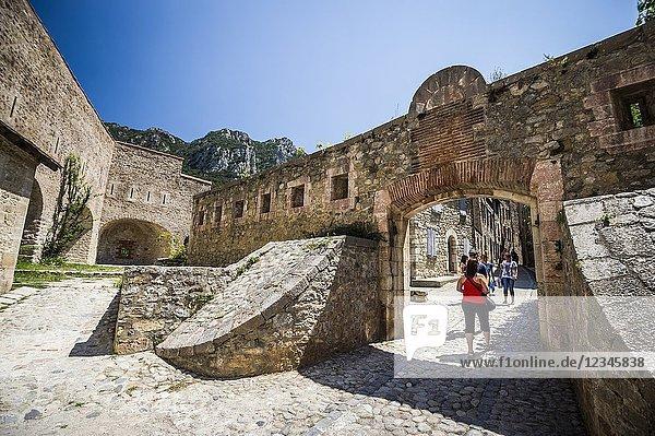 Entrance of a Vauban fortification in Villefranche-de-Conflent (department of Pyrénées-Orientales  region of Occitanie  France).
