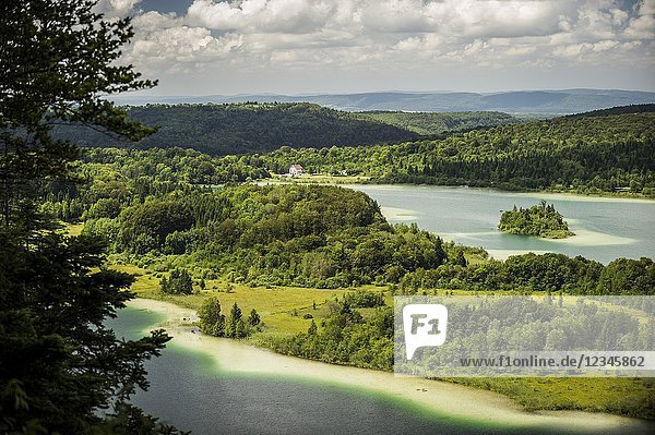 View of Le Grand Maclu and Motte ou d'Ilay lakes (department of Jura  region of Bourgogne-Franche-Comté  France).