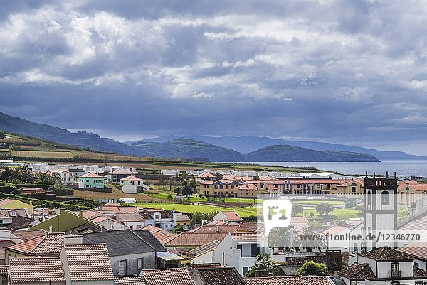 Portugal  Azores  Sao Miguel Island  Maia  elevated town view.