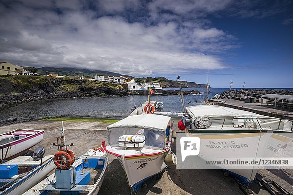 Portugal  Azores  Sao Miguel Island  Lagoa  fishing harbor with boats.