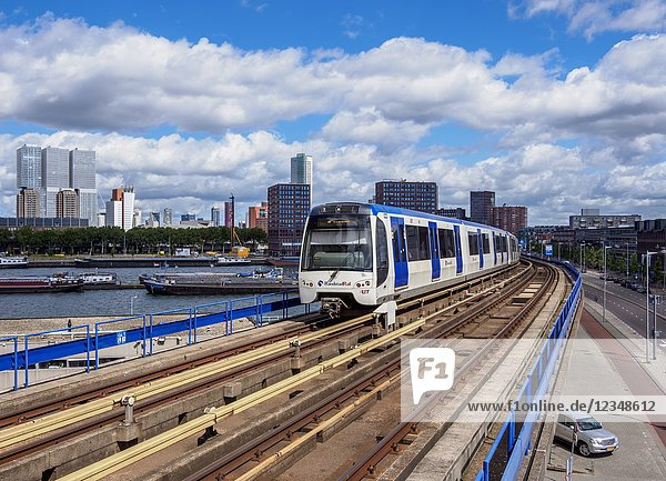 Train larriving at Maashaven Metro Station  Rotterdam  South Holland  The Netherlands.
