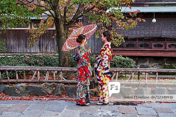 Japan  Honshu island  Kansai region  Kyoto  Gion  Geisha former area  young women in kimono.
