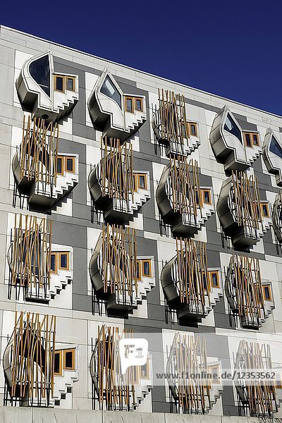 Exterior view of the Scottish Parliament building at Holyrood in Edinburgh  Scotland  United Kingdom.