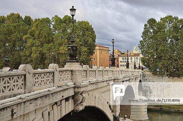 Bridge across the river Tiber. Rome  Italy.