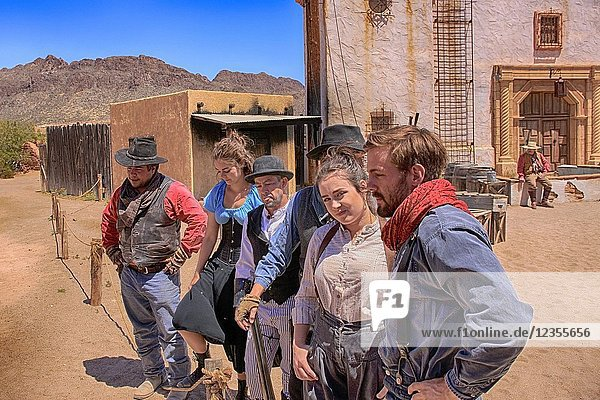 Actors from the Gun fight at the Mission at the Old Tucson Film Studios amusement park in Arizona.