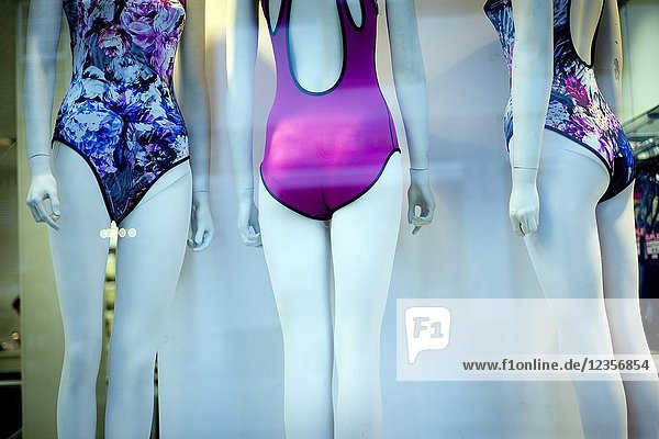 Shop window  clothing store  swimsuit. East End  London