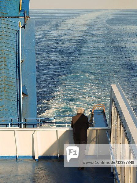 Passengers on the rear deck aboard Grimaldi Lines ferry  Cruise Smerelda in Mediterranean between Barcelona and Tangier.