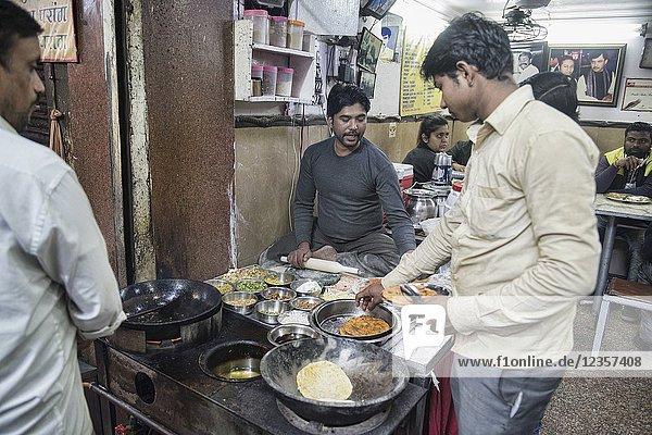 Gali Paranthe Wali  age-old famous paratha restaurant  Old Delhi  India.