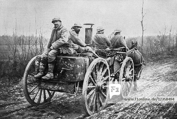 Rolling kitchen  Verdun  Meuse Department  1916  France.
