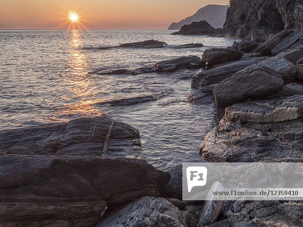 Italy  Cinque Terre  Vernazza. Sunset.