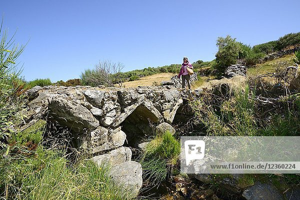 Medieval bridge in Portos  Castro Laboreiro  that linked Portugal to Galicia in Spain. Peneda Geres National Park  Portugal.