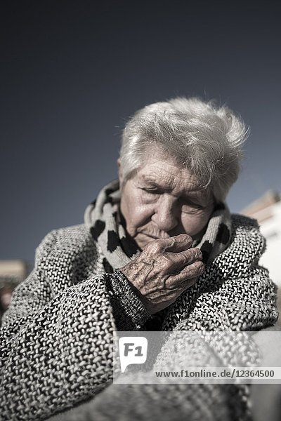 Older person dozing Valencia  Spain