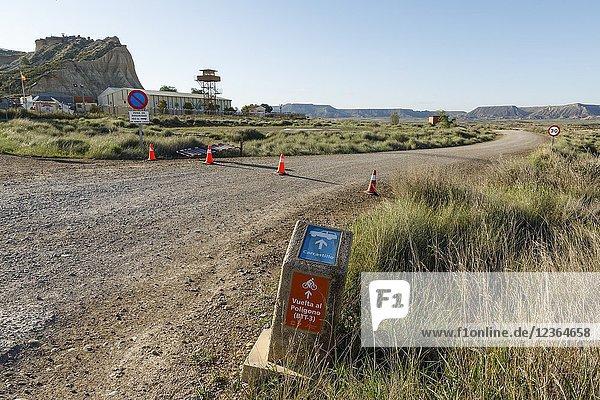 Closed road off to tourism by Spanish military. Force military zone. Shooting Range. Poligono de tiro. Bardenas Reales natural Park. Navarre. Spain. 09/05/2018.