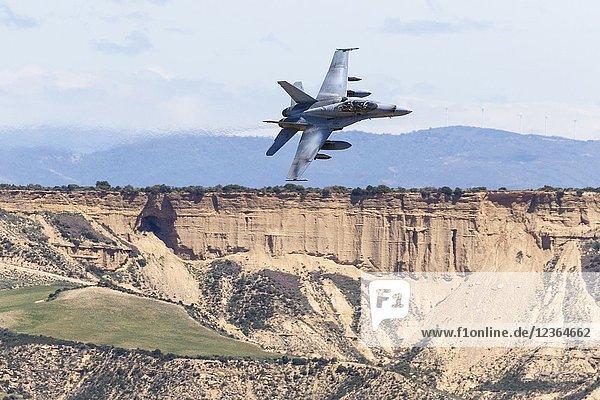 F-18. Military manoeuvres at Bardenas Reales shooting range. Operation 'Tormenta 2018'. Military zone. Bardenas Reales. Navarra. Spain. Europe 10/07/2018.