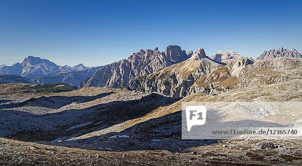 Italy. Alps. The Dolomites in the region of the 'Tre Cime di Lavaredo'. near Cortina d'Ampezzo.