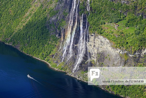 Norway  More og Romsdal  Geiranger fjord (Geirangerfjord)  listed as World Heritage by UNESCO  hike to the Skagefla farm  Seven Sisters waterfall.