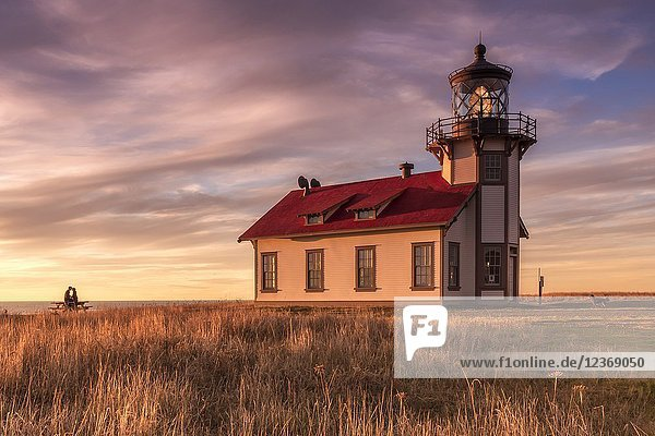 Romantic Sunset Point Cabrillo Lighthouse and Pacific Ocean on Mendocino Coast Fort Bragg CA.