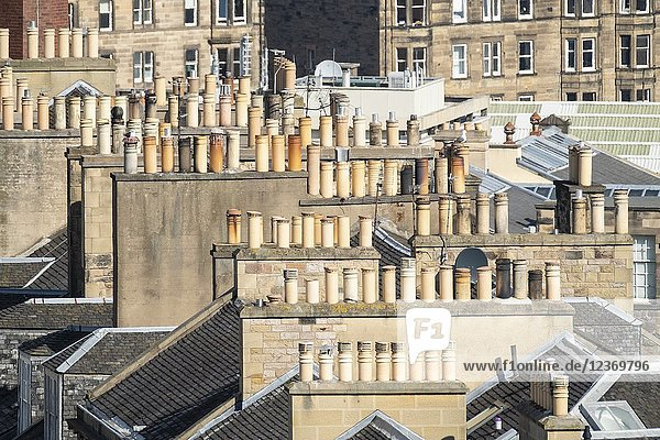 View of chimney pots on rooftops of the New Town in Edinburgh  Scotland  United Kingdom  UK.