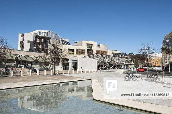 Exterior view of Scottish Parliament building at Holyrood in Edinburgh  Scotland  United Kingdom.