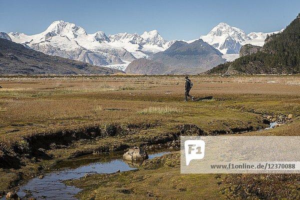 A person exploring the interior of Ainsworth Bay  in background Cordillera Darwin  PN Alberto de Agostini  Tierra del Fuego  Patagonia  Chile.