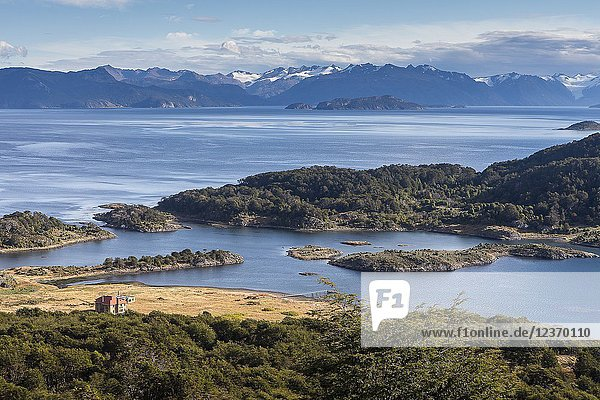 Panoramic view of Wulaia Bay  also called Caleta Wulaia  Navarino Island Tierra de Fuego  Patagonia  Chile.