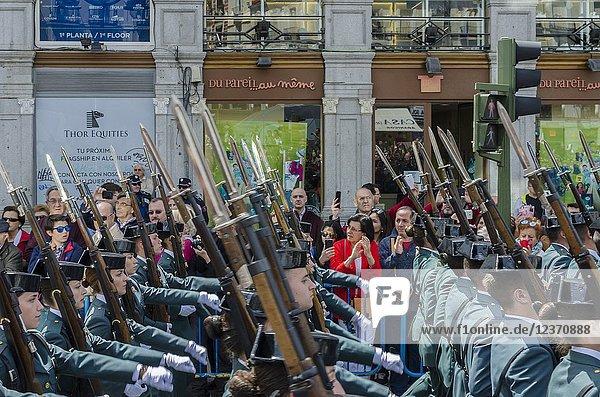 Civil Guards on parade. 2nd May  Dia de la Comunidad de Madrid (Madrid Holiday). Puerta del Sol  Madrid  Spain.