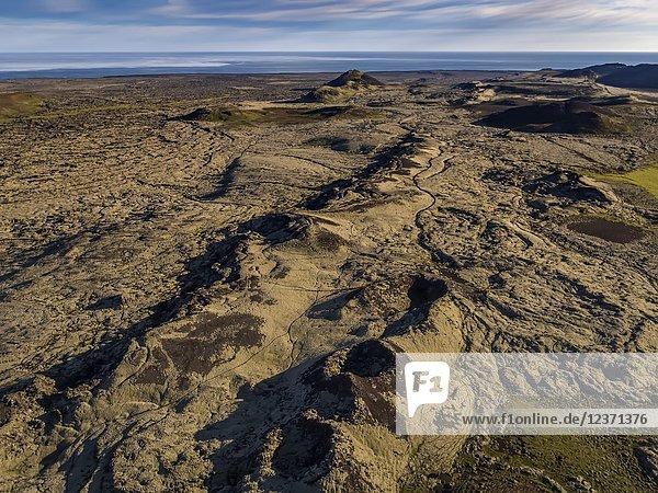 Lava fields-Nupshlidarhals  Reykjanes Peninsula  Iceland.