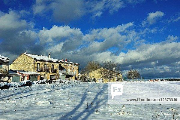 Snowed landscape. Alto Tajo Natural Park  Huertahernando town  Guadalajara province  Spain