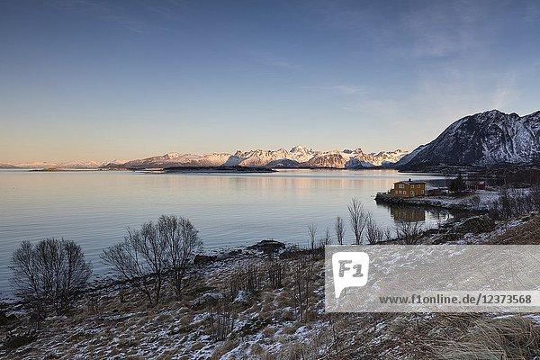 Sunrise at Ivarsholmen  municipality of Hadsel  Lofoten Island  Norway  Europe.