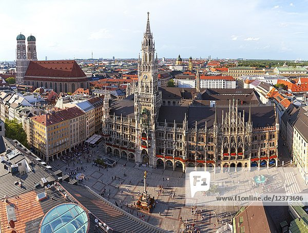 Overview of Town Hall (Rathaus) and Frauenkirche from St. Peter bell tower  Marienplatz  Munich  Bavaria  Germany.