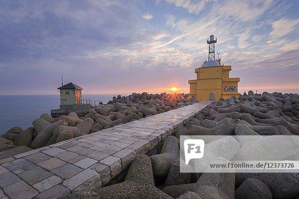 The lighthouse of Punta Sabbioni at dawn  Cavallino - Treporti  Venice  Veneto  Italy  Europe.