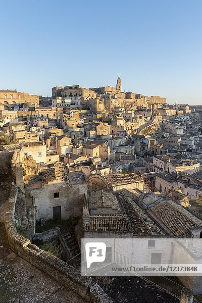 View of Sassi of Matera district  Matera  Matera province  Basilicata  Italy.