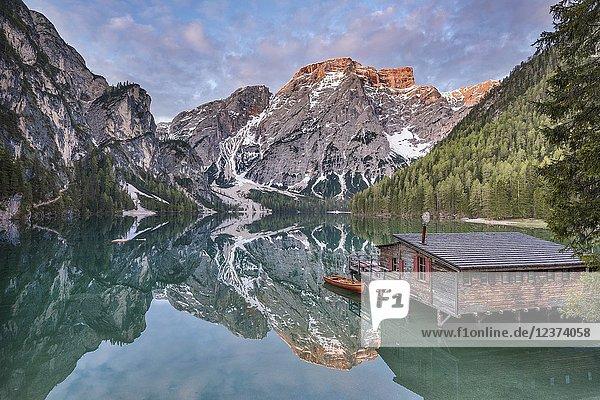 Braies / Prags  Dolomites  South Tyrol  Italy. The Lake Braies / Pragser Wildsee at sunrise.
