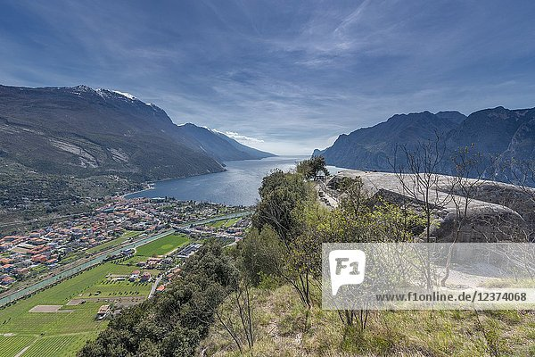 Torbole sul Garda  Lake Garda  Trento province  Trentino Alto Adige  Italy  Europe. View from Mount Brione with the Fort 'Middle Battery' to Torbole sul Garda.
