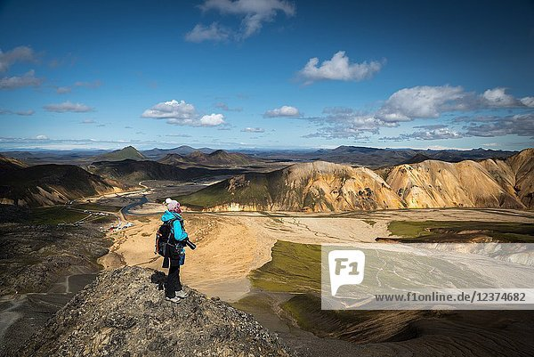Photographer at Landmannalaugar  Icelandic highlands  Iceland.