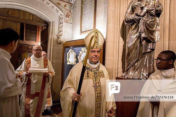 Michel Aupetit's first mass as Paris archbishop at Notre Dame de Paris cathedral  France.