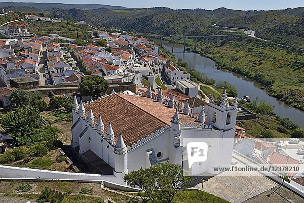 Main Church of Mertola  originally a mosque  overlooking the Guadiana River  Alentejo region  Portugal  southwertern Europe.