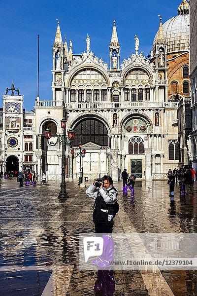 Acqua Alta (High Tide) In St Markâ.s Square  Venice  Italy.