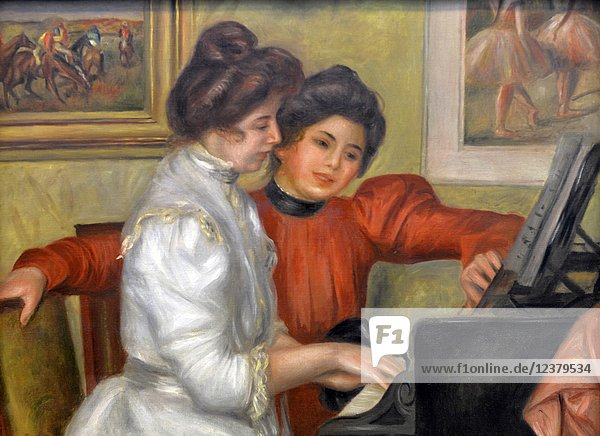 Yvonne et Christine Lerolle au piano  Youngs Girls at the Piano  1892  Pierre Auguste Renoir (1841-1919  the Orangerie Museum  The Tuileries  Paris  France.