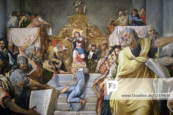 Christ among the Doctors  circa 1542-1543  oïl on canvas  by Jacopo Tintoretto  Museo del Duomo  Milan  Italy.