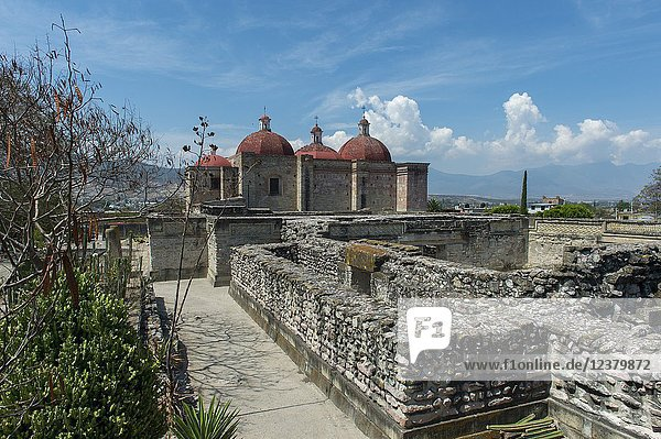 The Church or North Group with the Church of San Pedro in the background lies at the entrance to the Mesoamerican archaeological site (UNESCO World Heritage Site) in Mitla  a small town in the Valley of Oaxaca  southern Mexico.