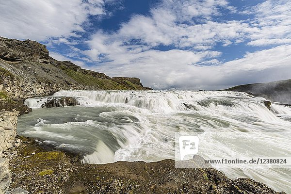 Gullfoss  'Golden Falls'  a waterfall located in the canyon of the Hvítá River in southwest Iceland.
