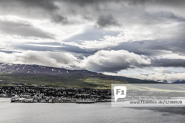 A view of the city and harbour of Akureyri  off the north coast of Iceland.