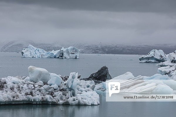 Calved ice from the Breidamerkurjokull glacier in Jökulsárlón glacial lagoon  southeast coast of Iceland.