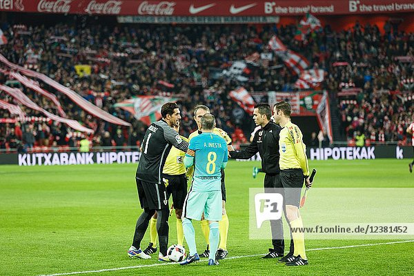 Greeting between the captains in the eighth-finals Spanish Cup match between Athletic Bilbao and FC Barcelona  celebrated on January 05  2017 in Bilbao  Spain