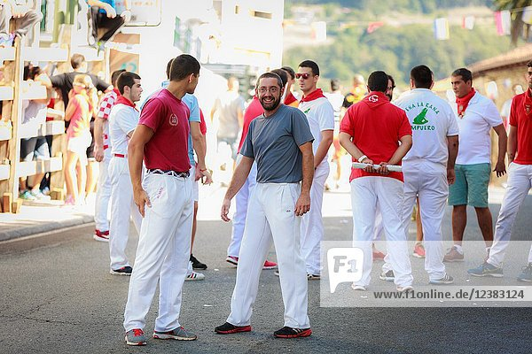 AMPUERO  SPAIN - SEPTEMBER 10: Unidentified group of people before the Bull Run on the street during festival in Ampuero  celebrated on September 10  2016 in Ampuero  Spain